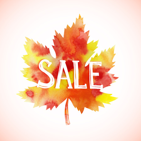 autumnal: Autumnal sale. Fall leaf isolated on white background. Vector illustration