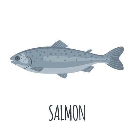 Zalm Fish icoon in vlakke stijl op een witte achtergrond. Forel vissen. Vector illustratie. Vector Illustratie