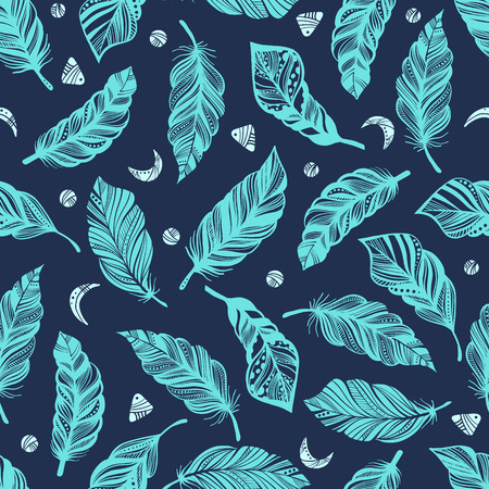 Seamless pattern with feathers. Boho style. Gypsy love. Hippie background. Vector illustration. Textile, fashion, fabric, wrapping texture. 矢量图像