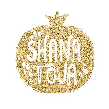 Rosh Hashanah greeting card with pomegranate. Shana Tova or Jewish New year symbols. Vettoriali