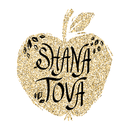 Rosh Hashanah greeting card with apple. Shana Tova or Jewish New year symbols. Çizim