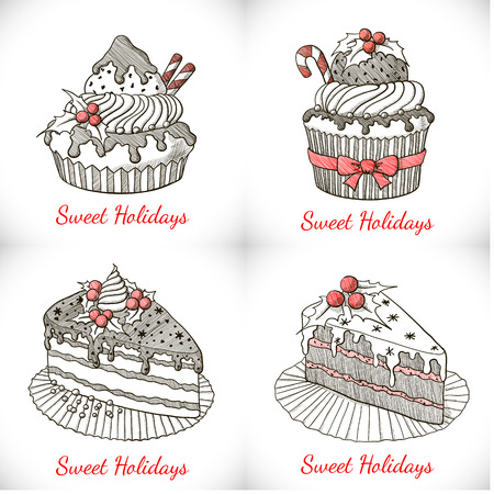 cake slice: Set of Christmas cupcakes and pies in sketch style. Vector illustration Illustration