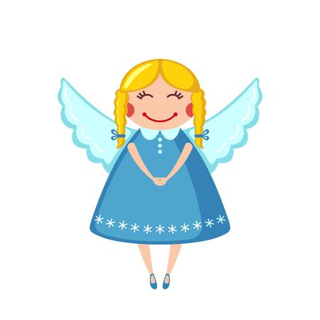 Icono de ángel lindo en estilo plano aislado sobre fondo blanco. Ilustración del vector.