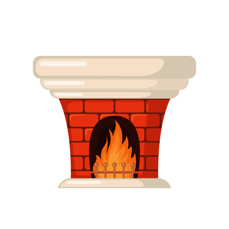 mantelpiece: Brick fireplace icon in flat style isolated on white background. Vector illustration.