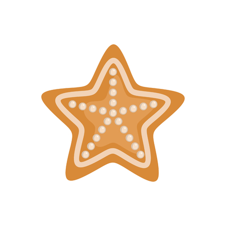 Gingerbread icon in shape of star in flat style isolated on white background. Vector illustration. Illustration