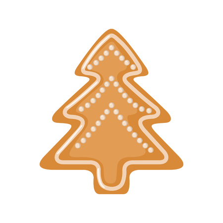 Gingerbread icon in shape of Christmas tree in flat style isolated on white background. Vector illustration.