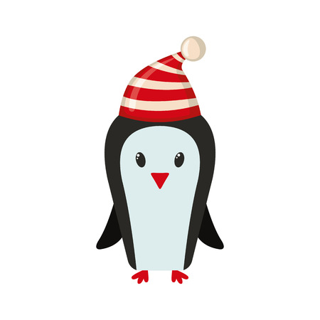 Cute penguin icon in flat style isolated on white background. Vector illustration.