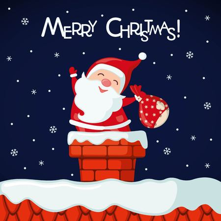 Christmas card with funny Santa Claus in chimney in flat style. Vector illustration.