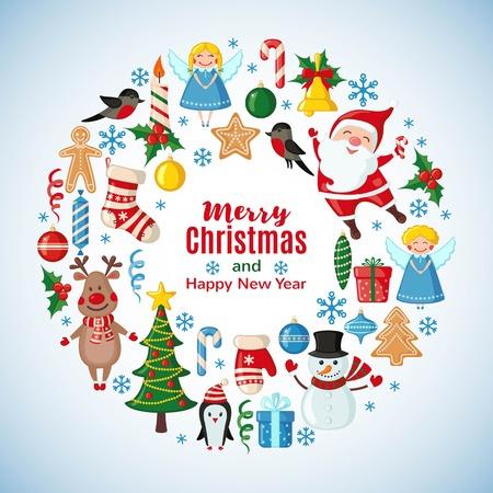 플랫 스타일에서 산타 클로스와 크리스마스 카드입니다. 벡터 일러스트 레이 션.