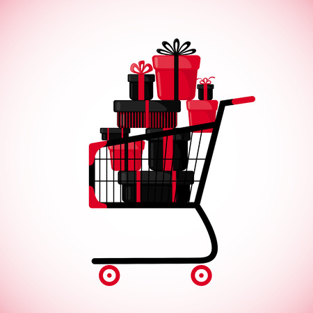 pushcart: Shopping cart full of gift boxes. in flat style isolated on white background. Vector illustration.