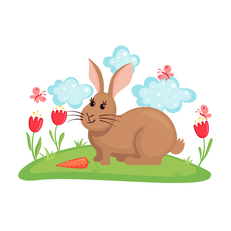 Cute bunny on lawn with flowers and butterflies isolated on white background. Farm animal rabbit with carrot. Funny rabbit in flat style. Vector illustration. Illustration