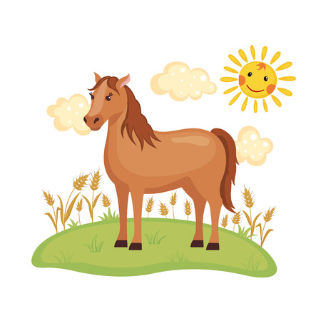 Cute Horse on a field isolated on white background. Farm animal. Horse in cartoon style. Vector illustration.