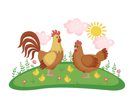 Cute chicken family with hen, rooster and chicks on a meadow with flowers isolated on white background. Farm birds. Vector illustration