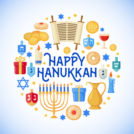 Happy Hanukkah greeting card in flat style isolated. Traditional Hanukkah symbols. Vector illustration.