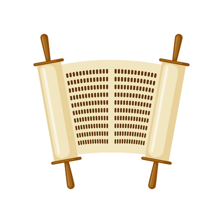 pentateuch: Torah scroll icon in flat style isolated on white background. Vector illustration.