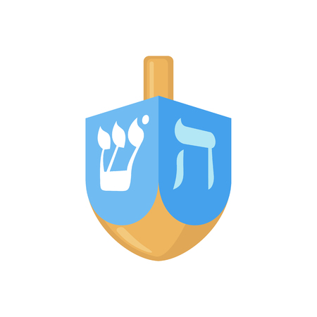 hanuka: Hanukkah dreidel icon in flat style isolated on white background. Vector illustration. Hanukkah dreidel with letters of the Hebrew alphabet.