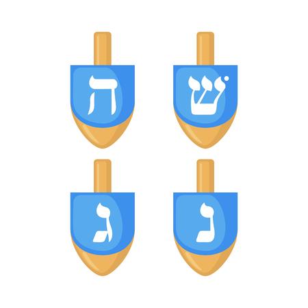 hebrew alphabet: Set of Hanukkah dreidels icons in flat style isolated on white background. Vector illustration. Hanukkah dreidels with its letters of the Hebrew alphabet. Illustration