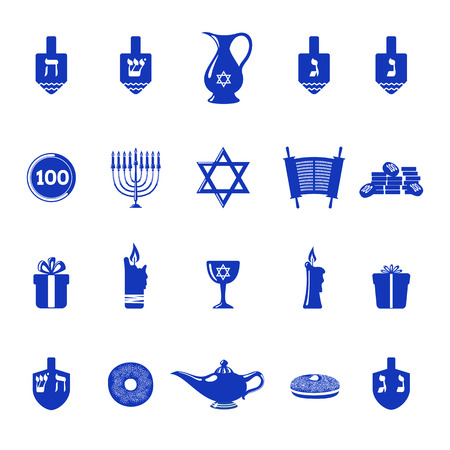 gelt: Set of Hanukkah holiday icons in flat style isolated on white background. Traditional Hanukkah symbols. Vector illustration.