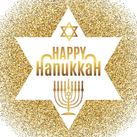 Happy Hanukkah greeting card in star form with gold glitter effect. Traditional Hanukkah symbols. Vector illustration.