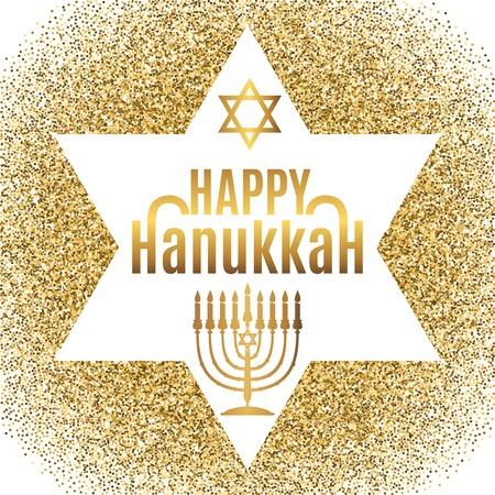 gelt: Happy Hanukkah greeting card in star form with gold glitter effect. Traditional Hanukkah symbols. Vector illustration.