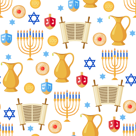holy jug: Seamless pattern background with Hanukkah traditional elements in flat style. Vector illustration.
