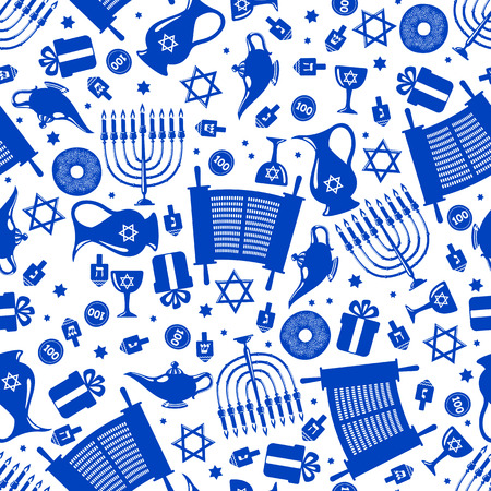 Seamless pattern background with Hanukkah traditional elements in flat style. Vector illustration.
