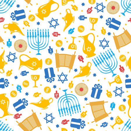 gelt: Seamless pattern background with Hanukkah traditional elements in flat style. Vector illustration.