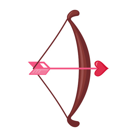 Cupid bow and an arrow with a heart icon in flat style isolated on white background. Love concept. Design element for Valentines day or Wedding. Vector illustration.