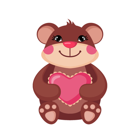 Cute Teddy bear hugging a pink heart. Love concept. Happy bear icon in flat style isolated on white background. Design element for Wedding, Birthday or Valentines Day. Vector illustration