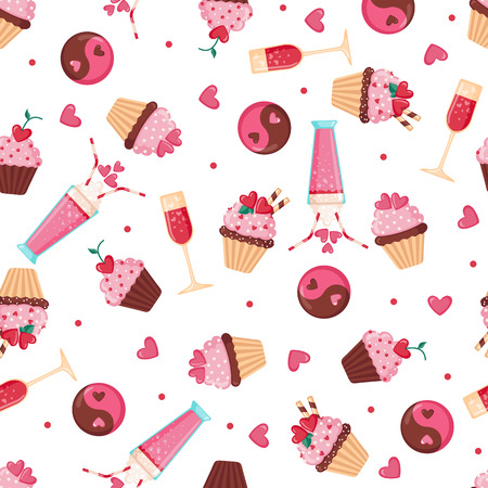alcohol series: Valentines day seamless pattern with hearts,lips and bows. Love concept. Design element for Wedding or Valentines day. Vector illustration Illustration