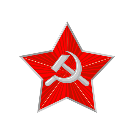 The military Soviet star with hammer and sickle.