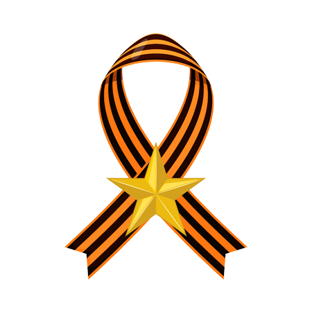 Striped victory Saint George ribbon icon with gold star in flat style isolated on white background. Vector illustration.