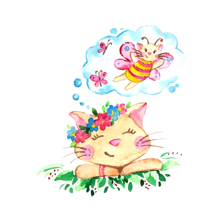 Watercolor romantic dreaming cat on the meadow isolated on white background.