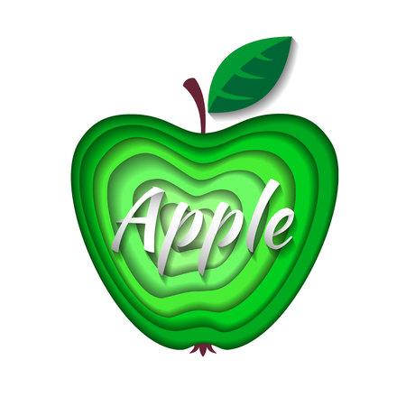 Paper art green apple. Vector illustration. Paper cut style apple. Origami concept. Illustration