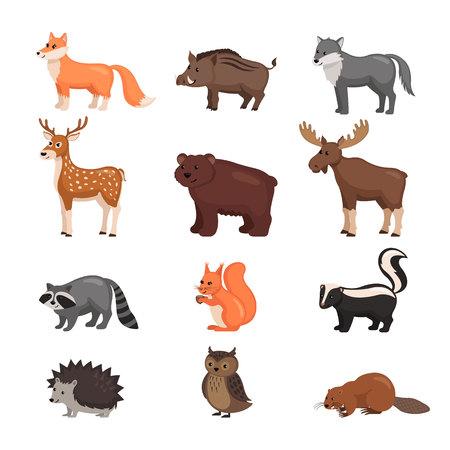 Bosdieren die in vlakke stijl worden geplaatst die op witte achtergrond wordt geïsoleerd. Vector illustratie. Kartonnen dieren.