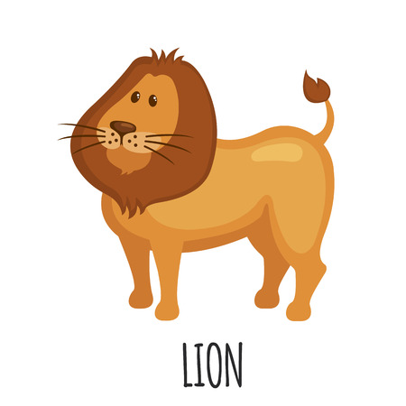 Cute Lion in flat style isolated on white background. Cartoon african Lion. Zoo animal. Vector illustration.