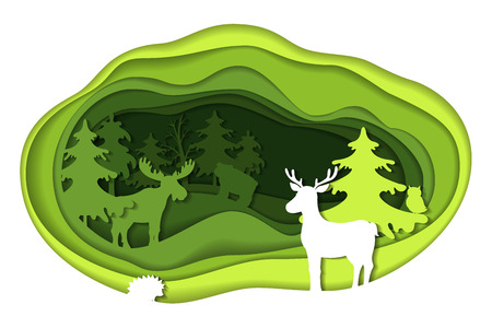 cut paper: Paper art carving of landscape with forest animals.
