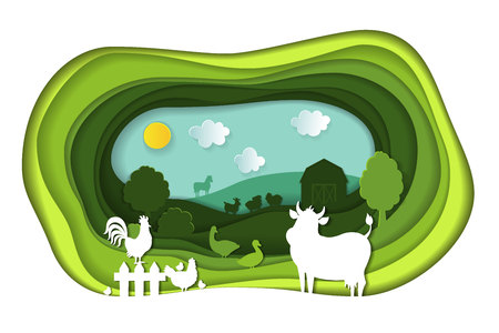 Paper art carving of landscape with farm animals.