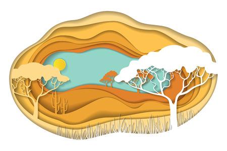 Paper art carving of African landscape.
