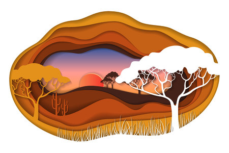 layered: Paper art carving of African landscape.