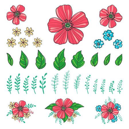 Floral creator. Set of hand drawn flowers, plants and leaves for design various combinations. Create your own compositions using elements. Vector illustration.