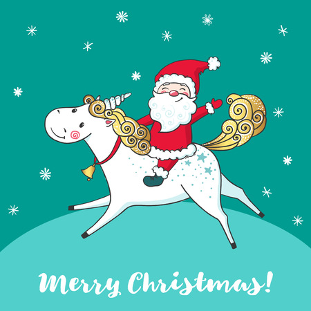 Greeting card with cute unicorn and Santa Claus.