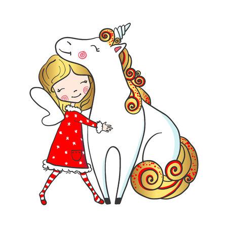 Hand drawn cute fairy girl hugging unicorn. Illustration