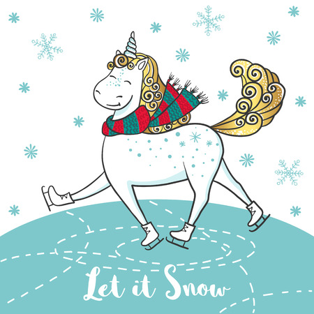 Winter card with cute unicorn on skates.