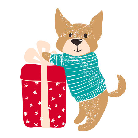 Cute hand drawn dog in warm winter sweater with big gift isolated on white background. Chinese New Year. Christmas concept. Vector illustration.