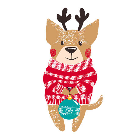 Cute hand drawn dog in warm red winter sweater and antlers with christmas ball isolated on white background. Chinese New Year. Christmas concept. Vector illustration.