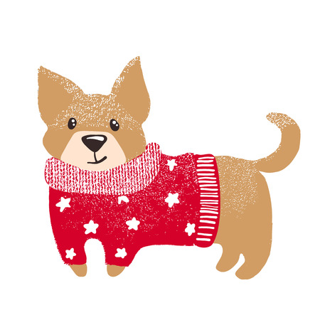 Cute hand drawn dog in warm red winter sweater isolated on white background. Chinese New Year. Christmas concept. Vector illustration. Stock Photo