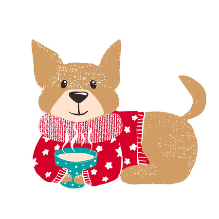 Cute hand drawn dog in warm red winter sweater with hot coffee isolated on white background. Chinese New Year. Christmas concept. Vector illustration.