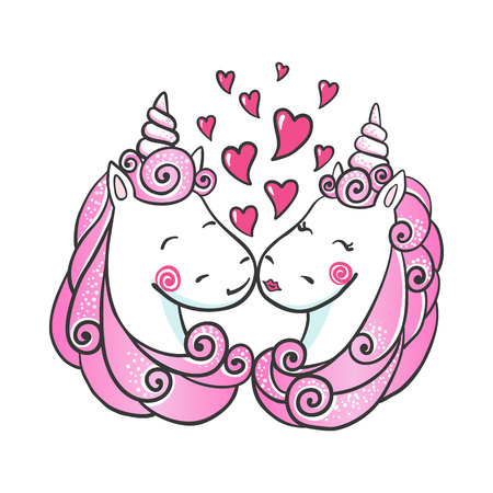 Cute hand drawn Unicorns in love.