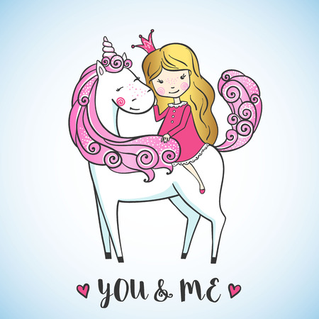 Greeting card with Little princess girl on magic unicorn. Love concept. Vector illustration. Ilustração